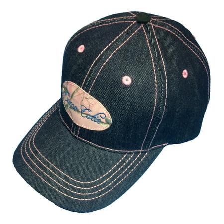 Camo Cutie (Camo Cutie Cap Womens Blue Jean Denim Hat with Pink Camo Logo and)