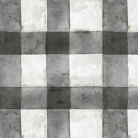 RoomMates Buffalo Plaid Black Peel and Stick Wallpaper