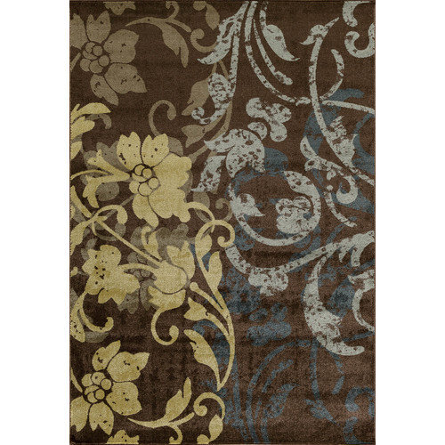 Central Oriental Vintage Brown Baroque Area Rug