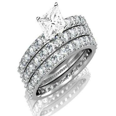 ba65f62bde37ff JeenJewels - Huge 3 Carat Trio Wedding Bridal Set on Closeout Sale Limited  Time - Walmart.com