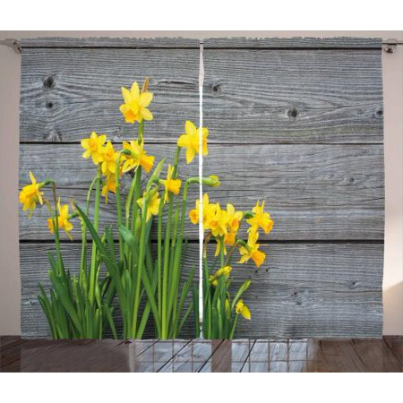 Yellow flower curtains 2 panels set bouquet of daffodils on wood yellow flower curtains 2 panels set bouquet of daffodils on wood planks gardening rustic country mightylinksfo