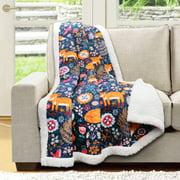 Lush Décor Pixie Fox Print Soft Sherpa Throw Blanket