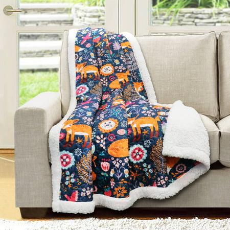 Lush Décor Pixie Fox Print Soft Sherpa Throw - West Point Soft Blanket