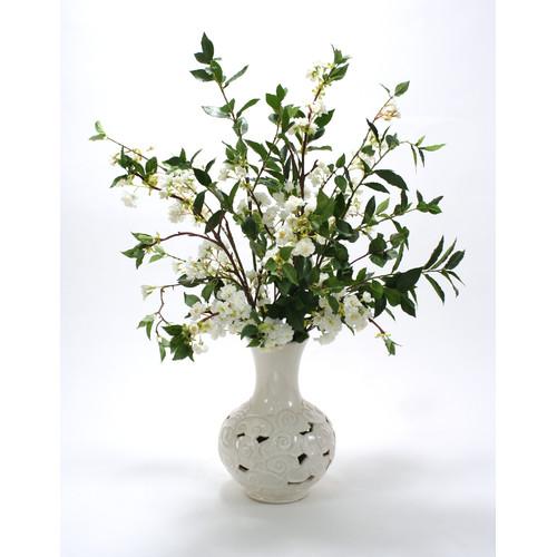 Distinctive Designs White Cherry Blossoms in Cloud Vase