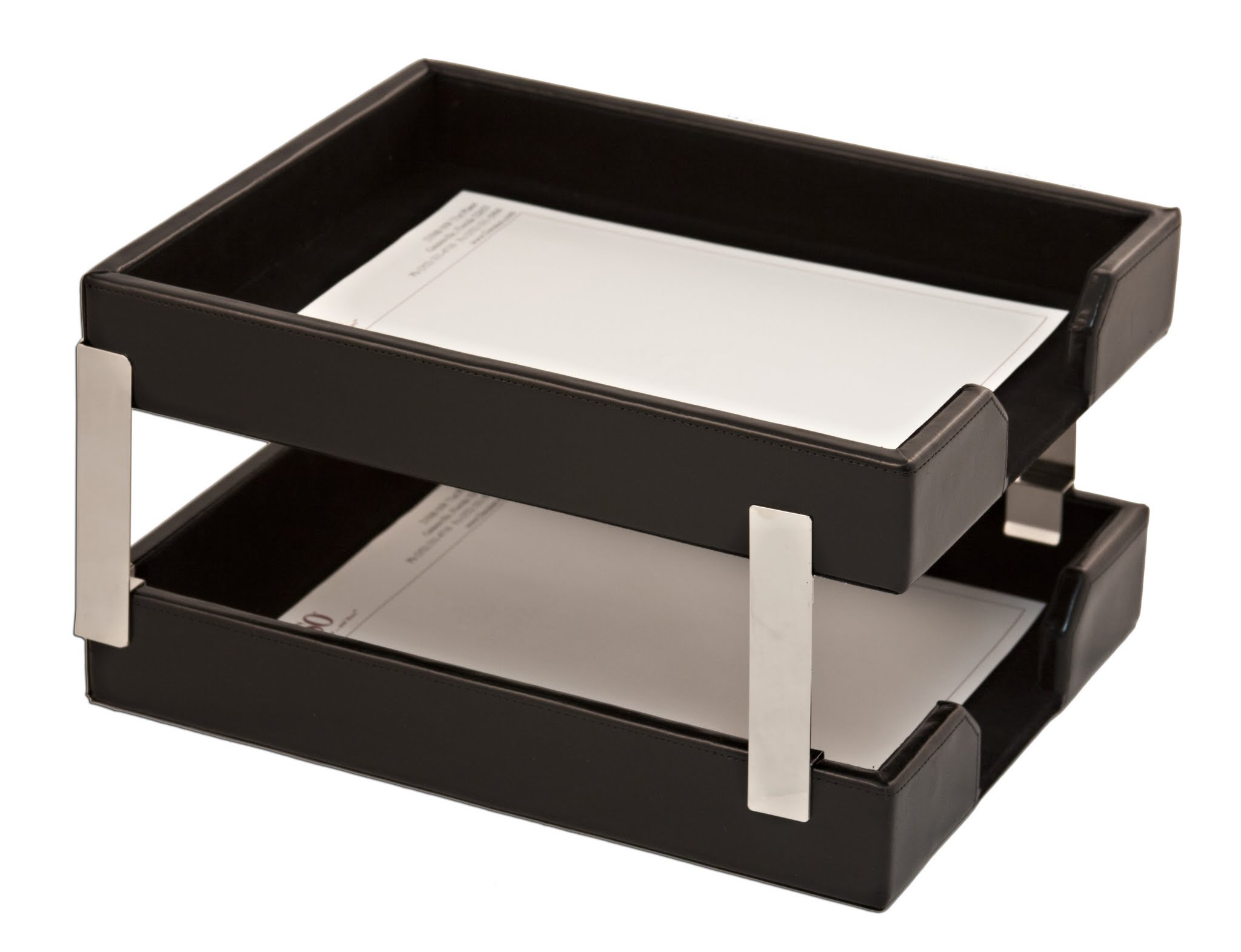 Black Bonded Leather Double Letter Trays by Dacasso