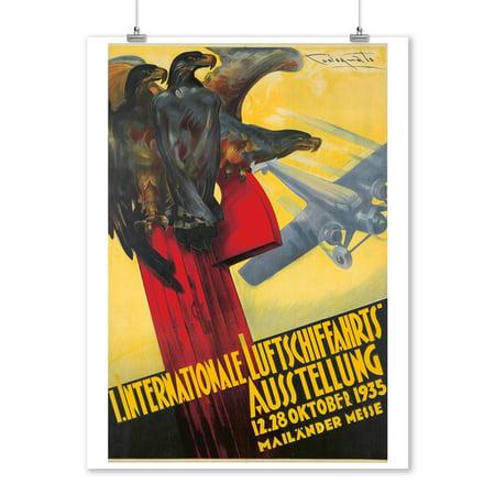 I Internationale Luftschiffahrts Ausstellung Vintage Poster (artist: Codognato) Italy c. 1935 (9x12 Art Print, Wall Decor Travel Poster)
