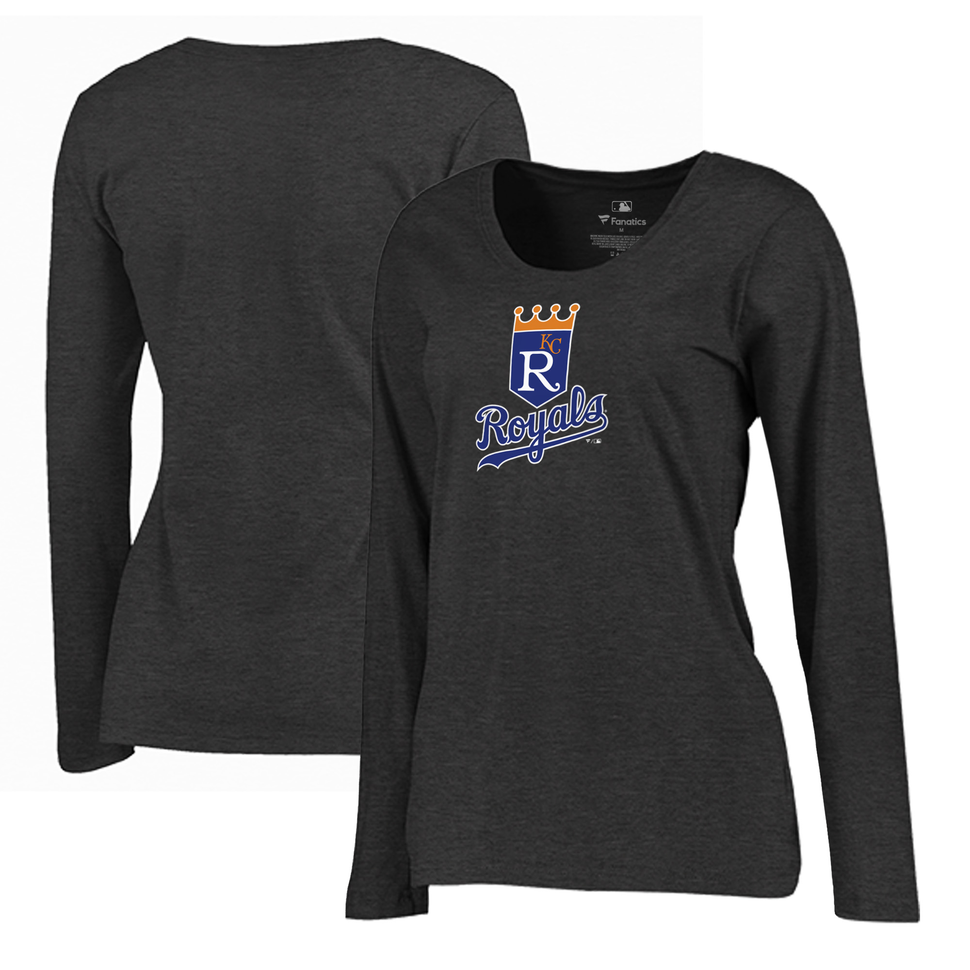 Kansas City Royals Fanatics Branded Women's Plus Size Cooperstown Collection Huntington Long Sleeve T-Shirt - Heathered Gray