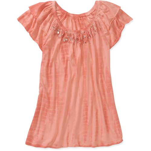 Women's Flutter Short Sleeve with Jeweled Floral Details