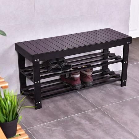 "Ktaxon 36"" Solid Wood Shoe Bench 3 Tier Storage Racks Seat Organizer Entryway Hallway Espresso - image 4 of 4"