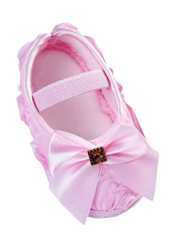 JLONG Baby Girls Bowknot Soft Princess Crib Shoes Prewalkers Anti-Slip Walking 0-18M