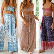 Women's Ladies High Waisted Wide Leg Harem Trousers Palazzo Loose Beach Pants Pink Size M