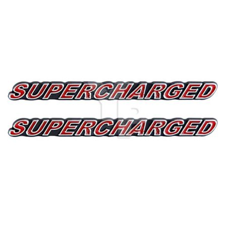 """SUPERCHARGED Supercharger Engine Emblems in Chrome & Red Trim - 5.5"""" Long Pair, Chrome plated featuring red lettering By Yates Performance"""