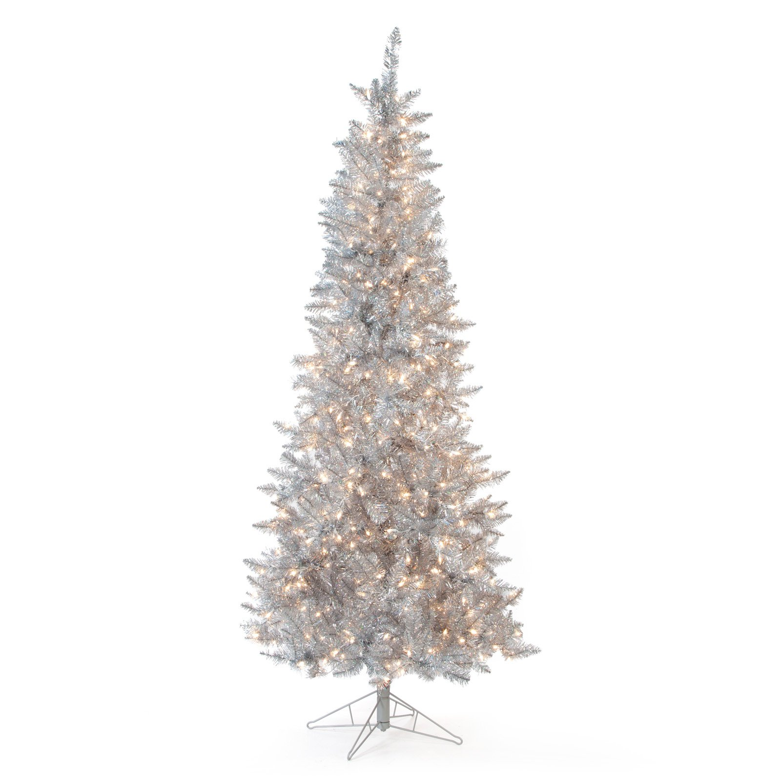 silver tiffany tinsel pre lit christmas tree by sterling tree company walmartcom
