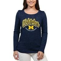 Michigan Wolverines Funky Script Women'S/Juniors Team Long Sleeve Scoop Neck Shirt