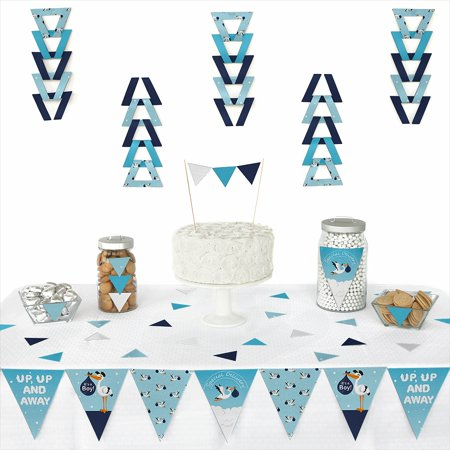 (Boy Special Delivery - Triangle Blue It's A Boy Stork Baby Shower Decoration Kit - 72 Piece)