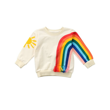 Dewadbow Toddler Baby Girls Kids Long Sleeve T-Shirt Sweatshirt Jumpers Tops Clothes Tees