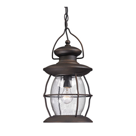 8' Base - Outdoor Pendant 1 Light With Weared Charcoal Finish Medium Base 8 inch 60 Watts - World of Lamp