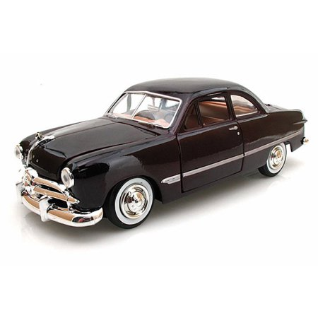 1949 Ford Coupe, Burgundy - Motormax Premium American 73213 - 1/24 Scale Diecast Model Car 1949 1950 Ford