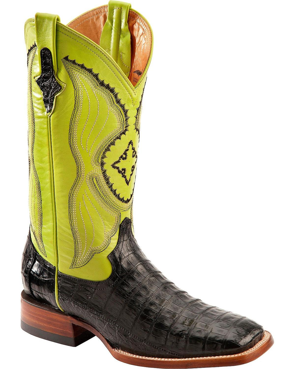 Ferrini Men's Caiman Belly Cowboy Boot Wide Square Toe 1249304 by Ferrini