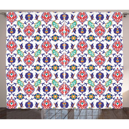Traditional Curtains 2 Panels Set, Classic Ottoman Moroccan Old Fashioned Turkish Mosaic Tiles Ceramic Artwork, Window Drapes for Living Room Bedroom, 108W X 63L Inches, Multicolor, by Ambesonne ()
