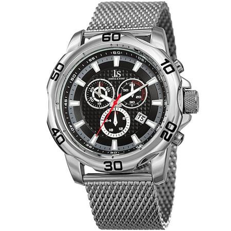 Swiss Quartz Chronograph (Men's Swiss Quartz Chronograph Silver-Tone/Black Stainless Steel Bracelet Watch )