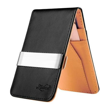 Black/Orange Mens Faux Genuine Leather Silver Money Clip Wallets ID Credit Card Holder (Gift Idea) (Gift Card Holder Ideas)