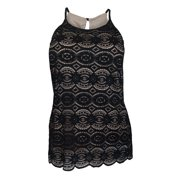 eVogues Plus Size Lace Overlay Sleeveless Top Black