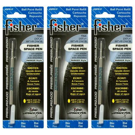 Fisher Refills - SPR1F-3Pack 3 Pressurized Cartridges Blue Ink Fine Point