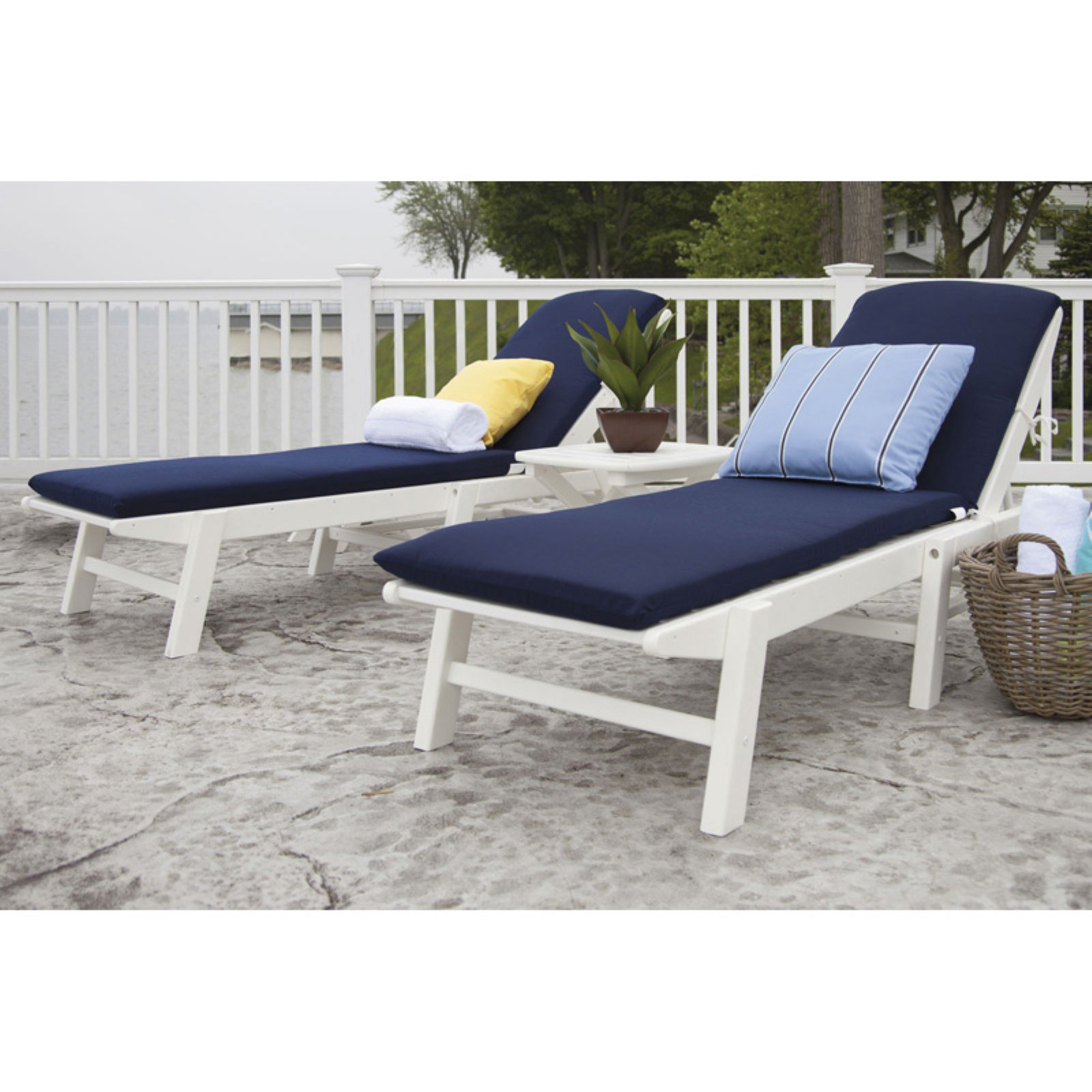 POLYWOOD® Nautical Stackable White Wheeled Chaise with Navy Cushions - Set of 2 with Table