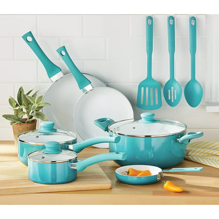 Green Lime (Mainstays Ceramic Nonstick 12 Piece Cookware Set, Teal)
