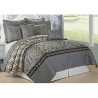 Serenta  Mystic Printed Reversible 7 Piece Quilt Bedspread Coverlet Set