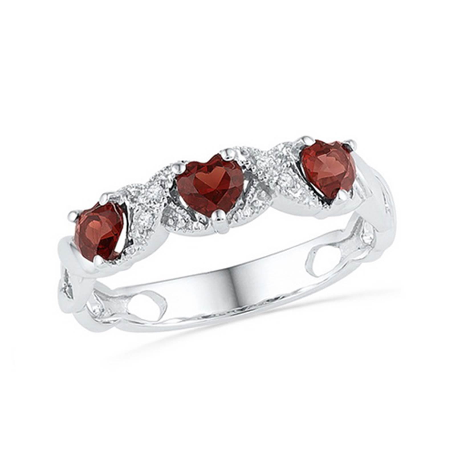 10k Ladies White Gold Diamond & Three Heart Cut Garnet Fashion Ring 0.81CT