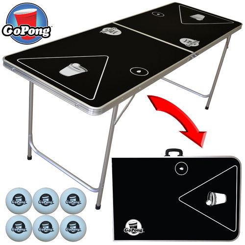 GoPong 6' Portable Folding Beer Pong/Flip Cup Table, 6 Balls Included