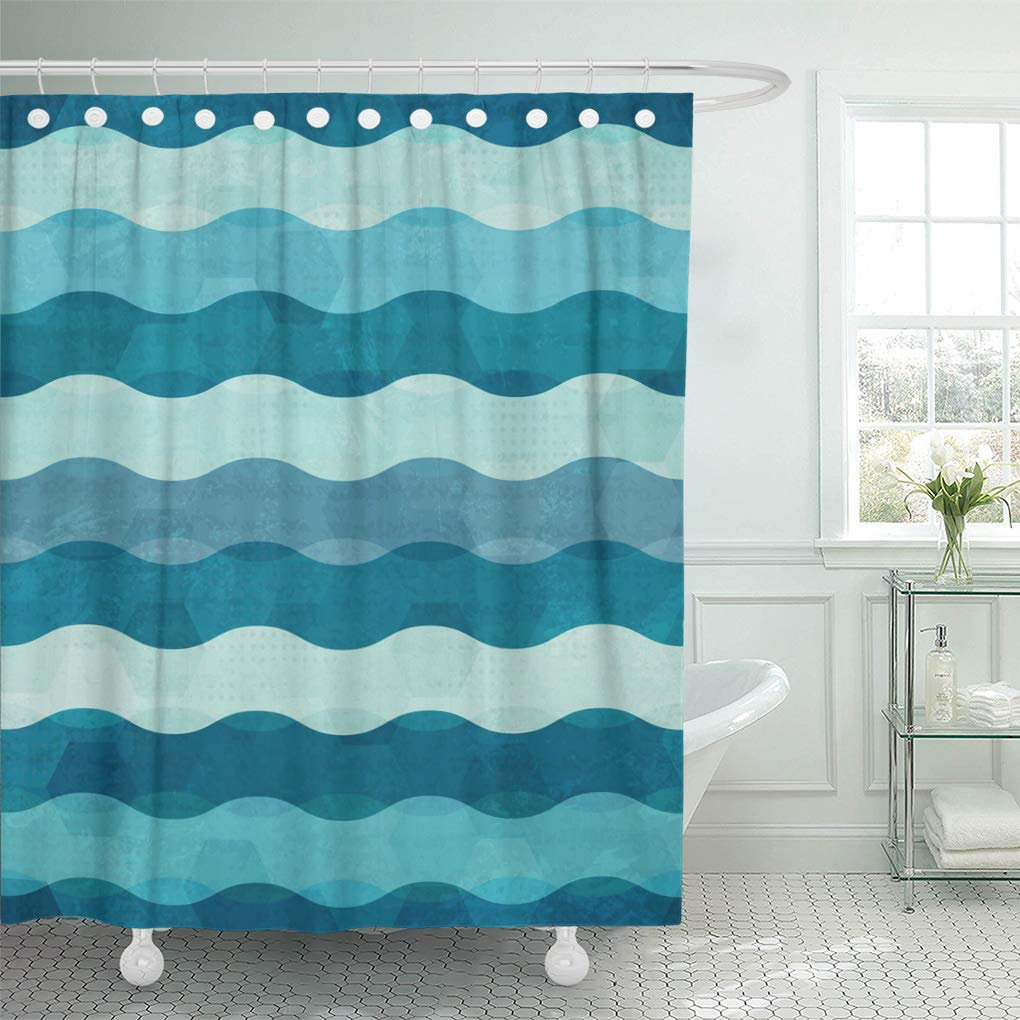 CYNLON Blue Water Abstract Waves Sea Pattern Beach Surf Cool Bathroom Decor  Bath Shower Curtain 8x8 inch - Walmart.com