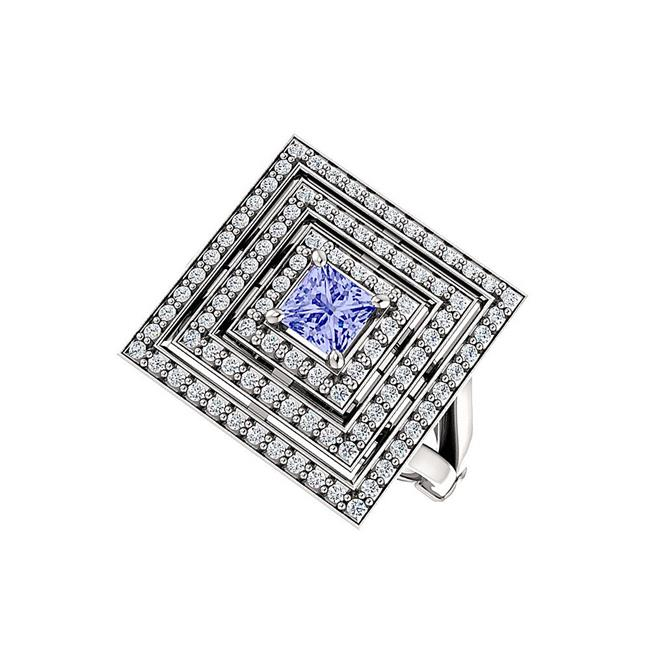 1CT Tanzanite Triple Halo Cubic Zirconia Sterling Silver Square Ring, Size 6 - image 1 of 1