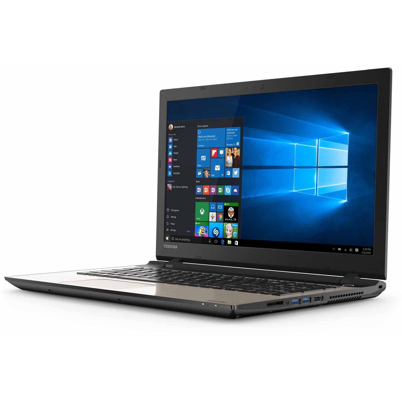 "Toshiba Satin Gold 15.6"" Satellite L55D-C5318 Laptop PC with AMD A10-8700P Quad-Core Processor, 12GB Memory, 1TB Hard Drive and Windows 10 Home"