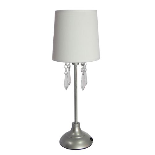 Simple Designs Table Lamp with Fabric Shade and Hanging Acrylic Beads by All the Rages Inc
