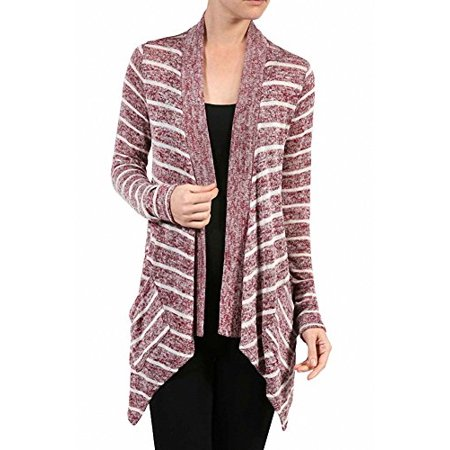 Sassy Apparel Women's Trendy Asymmetrical and Stripe Design Cardigan Sweater