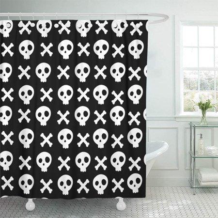 Black And White Halloween Cartoons (KSADK Abstract Black and White Skull and Cross Bones Cartoon Dead Funny Graphic Halloween Shower Curtain Bath Curtain 66x72)