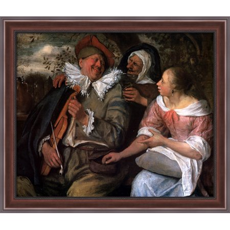 Robbed Violin Player 34X28 Large Walnut Ornate Wood Framed Canvas Art By Jan Steen