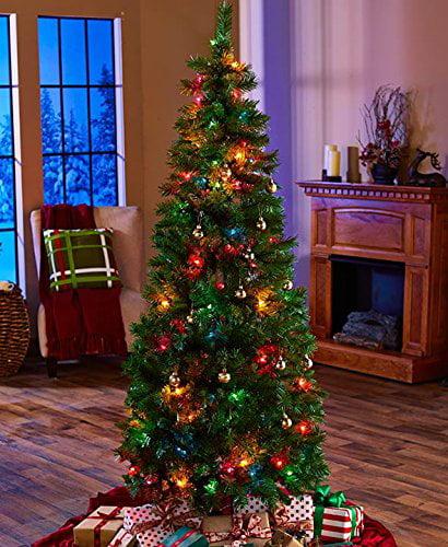 6 Ft Pre Lit Pop Up Christmas Tree Multi Colored Lights