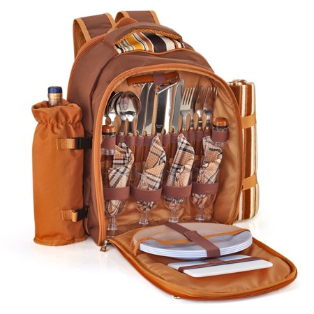 Picnic Backpack Kit - Set for 4 Person With Cooler Compartment, Detachable Bottle/Wine Holder, Fleece Blanket, Plates and Flatware Cutlery Set (Plaid Tartan - Brown) - Chest Plate