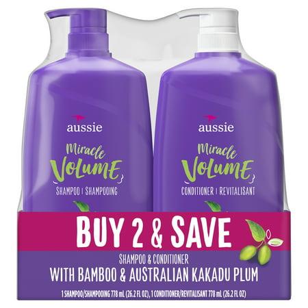 Aussie Shampoo & Conditioner Miracle Volume With Bamboo & Kakadu Plum, Paraben Free, 26.2 fl oz dual