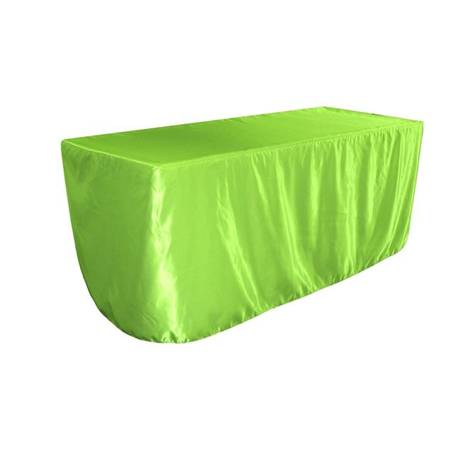 LA Linen TCbridal-fit-96x48x30-LimeB84 Fitted Bridal Satin Tablecloth, Lime 96 x 48 x 30... by