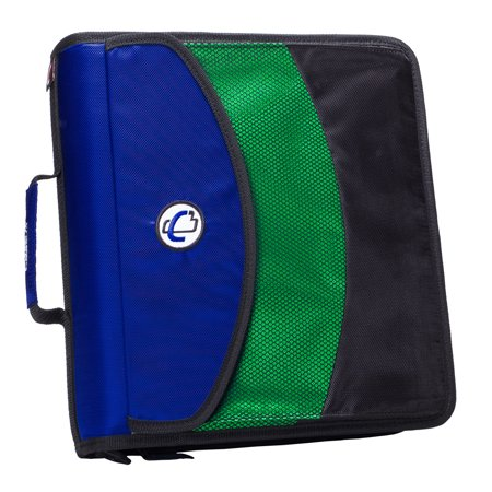 Case It Dual Ring Zipper Binder with Exterior Pocket, Blue, 3 inch, DUAL-121-A