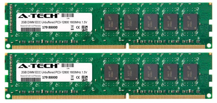 4GB Kit 2x 2GB Modules PC3-12800 1600MHz 1.5V ECC Unbuffered DDR3 DIMM Server 240-pin Memory Ram