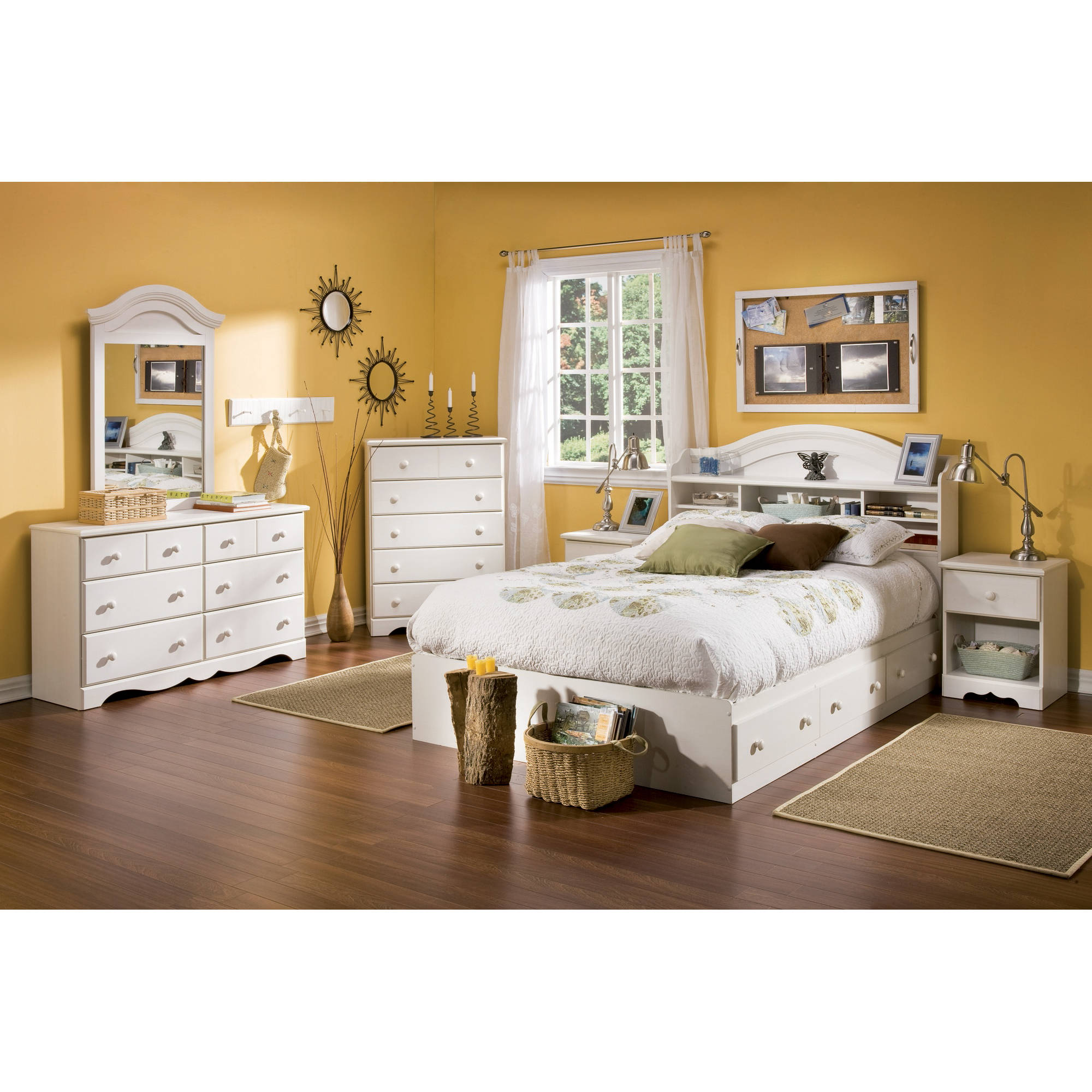 High Quality South Shore Summer Breeze 4 Piece Bedroom Set, Full, White Wash