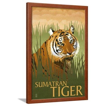 Tigers Lithograph (Sumatran Tiger - Lithograph Series Framed Print Wall Art By Lantern Press )