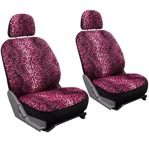 Oxgord Leopard Velour Bucket Seat Cover Set
