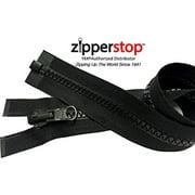 ZipperStop Wholesale YKK® - Vislon Jacket Zipper Reversible Slide YKK® #5 Molded Plastic Separating End - Color BLCK Custom Length (27 Inches)